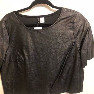 Faux Leather Crop Shirt by H&M